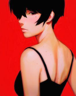 Фото Девушка на красном фоне, художник Кувшинов Илья
