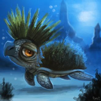 Фото Грустная черепашка под водой, by Cryptid-Creations