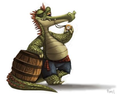 Фото Крокодил с бочкой и карманными часами, by Cryptid-Creations