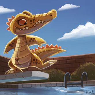 Фото Крокодил над бассейном, by Cryptid-Creations