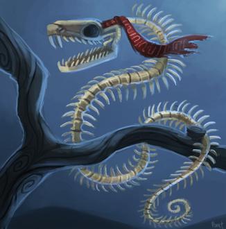 Фото Скелет змеи на дереве, by Cryptid-Creations