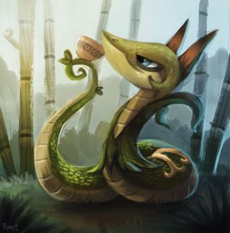 Фото Змея с кружкой на фоне природы, by Cryptid-Creations