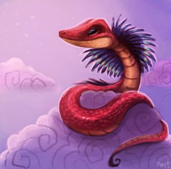 Фото Красная змея на облаке, by Cryptid-Creations