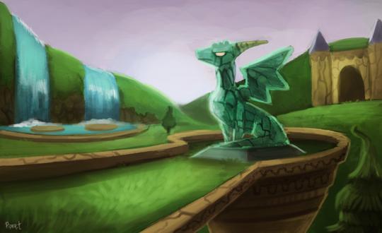 Фото Зеленый дракон на фоне замка, by Cryptid-Creations