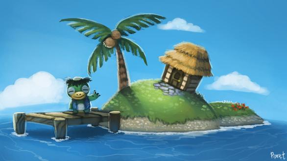 Фото Каппа сидит на мосте у острова, by Cryptid-Creations