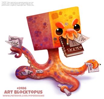 Фото Осьминог с квадратной головой жует тетрадку (Art Blocktopus), by Cryptid-Creations