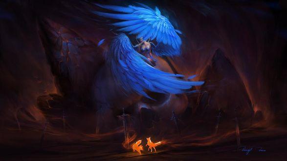 Фото Ангел смерти сидит на огромном черепе в окружении мечей, возле которого стоят две огненных лисицы, by BisBiswas