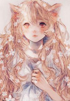 Фото Девушка-лисичка с цветами в волосах, by orie