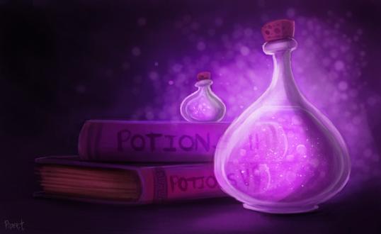 Фото Две бутылочки с зельем рядом с книгами, by Cryptid-Creations