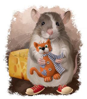 Фото Мышка держит игрушечного кота, by Kajenna