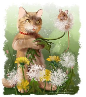 Фото Кот и мышка среди одуванчиков, by Kajenna