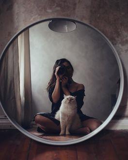 Фото Девушка с фотоаппаратом в руках и кошкой рядом сидит перед зеркалом, by call. me. cliff