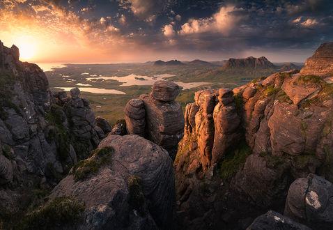 Фото Пейзаж с горами, Ассинт, Шотландия. Фотограф Karol Nienartowicz