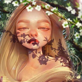 Фото Тень от цветущей веточки на лице девушки, by JoAsLiN