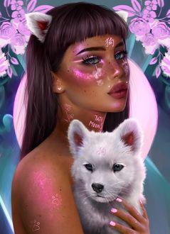Фото Девушка с волчьими ушками и знаками на теле держит на руках белого волчонка, By Tati Moons