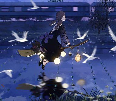 Фото Девочка летит на метле
