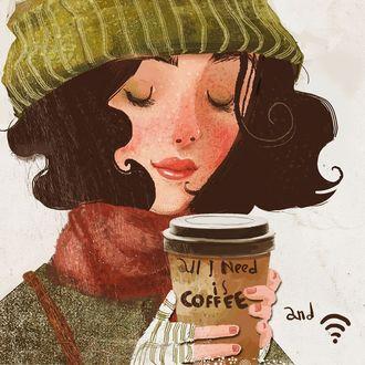 Фото Девушка со стаканом кофе
