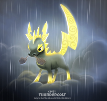 Фото Лошадь-молния на сером облаке (Thundercolt), by Cryptid-Creations