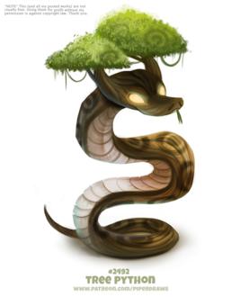 Фото Дерево-питон на белом фоне (Tree Python), by Cryptid-Creations