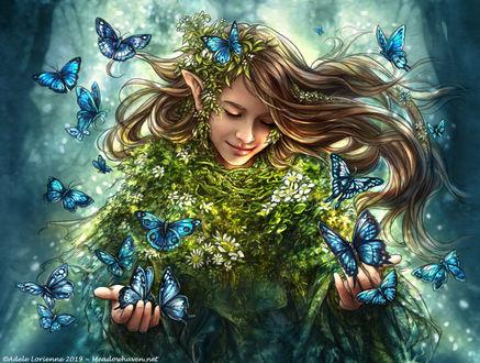 Фото Девочка - эльф с голубыми бабочками, by Saimain