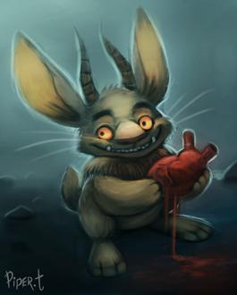 Фото Кролик с рогами держит в лапах сердце, by Cryptid-Creations