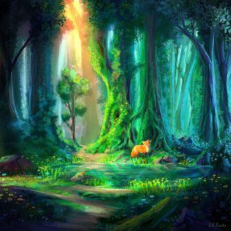 Фото Лиса и лягушка у лесного пруда, by JKRoots