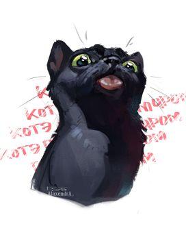 Фото Черный кот высунул язык, by AlaxendrA (котэ)