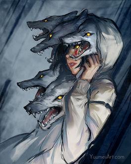Фото Девушка со злыми волками, by Yuumei