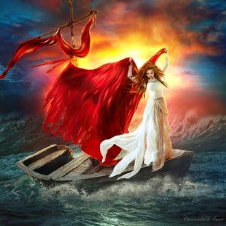 Фото Девушка на лодке с алым парусом, by ChristabelleLAmort