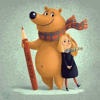 Фото Девочка и медведь с карандашом