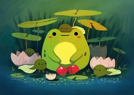 Фото Смешная лягушка с головастиками, by ellievsbear