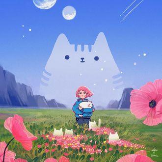 Фото Девочка с кошкой в руках стоит на маковом поле, где гуляют белые кошки, by ellievsbear