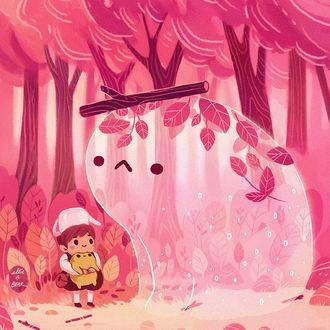 Фото Девочка с игрушкой в руке стоит перед белым чудиком в лесу, by ellievsbear