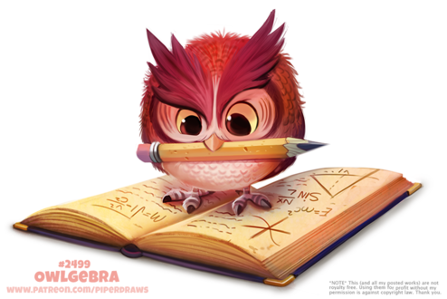 Фото Совенок с карандашом на книге (Owlgebra), by Cryptid-Creations