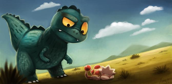 Фото Зеленый дракон смотрит на спящего дракона, by Cryptid-Creations