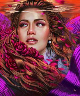 Фото Девушка с розами в волосах, by vurdeM