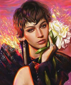 Фото Девушка с цветком в руке у лица, by vurdeM