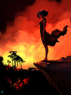 Фото Девушка стоит на обрыве, by Shai Daniel