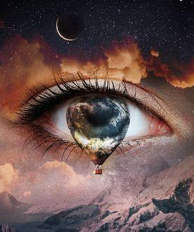 Фото Глаз девушки со слезой в виде воздушного шара над облаками, by skip_closer