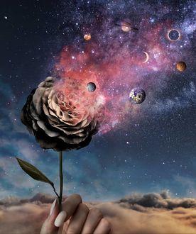 Фото Вруке девушки роза с разлетающимися планетами, by skip_closer
