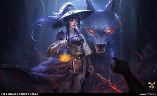 Фото Девушка с фонарем и катаной в руках стоит рядом с волком с огненными глазами, by gyxycn