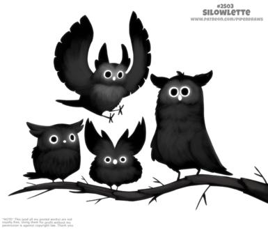 Фото Черные совы на ветке (Silowlette), by Cryptid-Creations