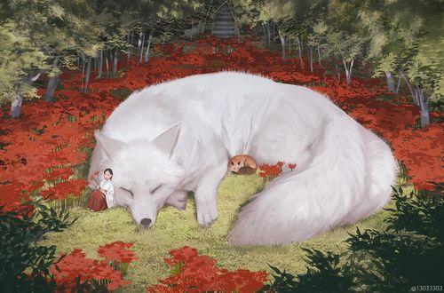 Фото Девочка сидит у большой белой лисы