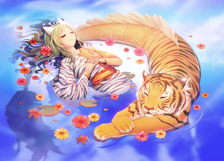 Фото Девушка в ободке с ушками и тигр с рыбьем хвостом в воде, by longestdistance