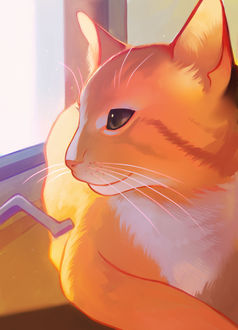 Фото Рыжий кот на окне, by longestdistance