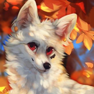 Фото Белая лиса на фоне осенних листьев, by kavlri