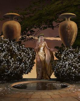 Фото Девушка в длинном платье и венке стоит между цветущими кустами, by Giorgos Tsolis