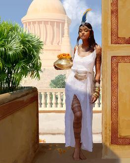 Фото Девушка в длинном платье, с цветами в вазе стоит у стены, by Giorgos Tsolis