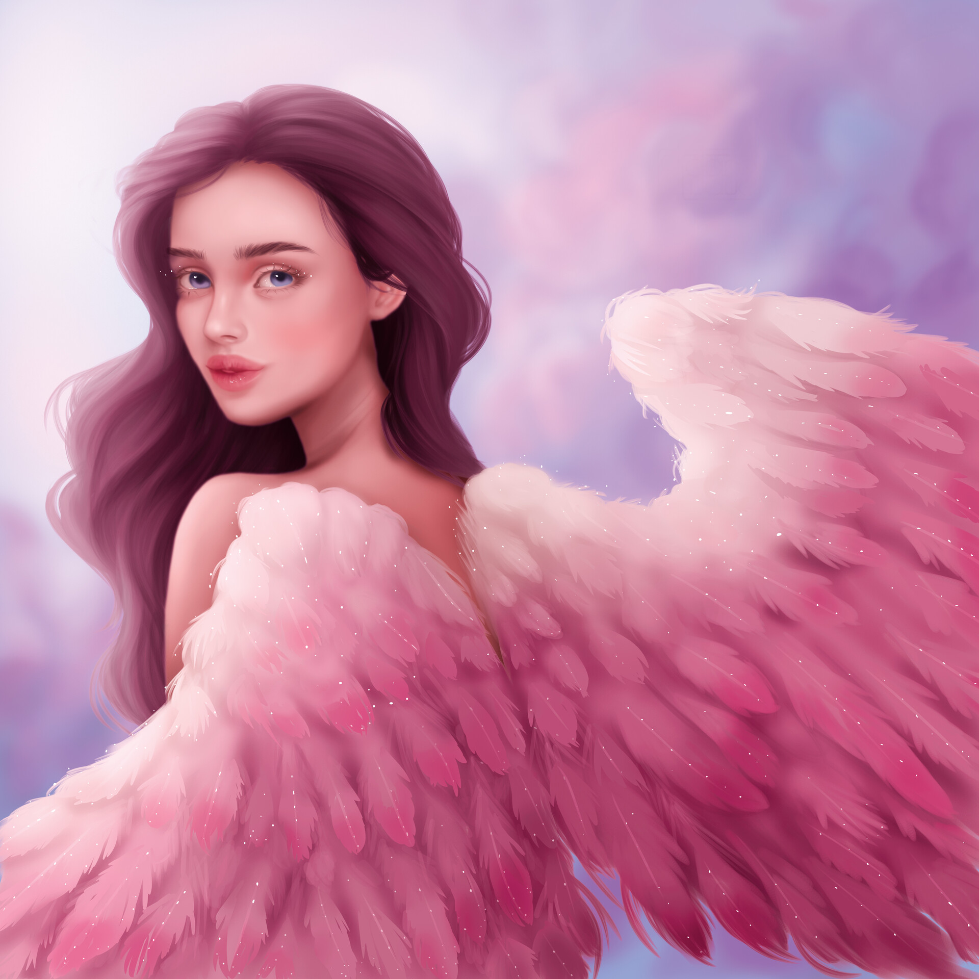 Картинки девушек с крыльями нарисованные