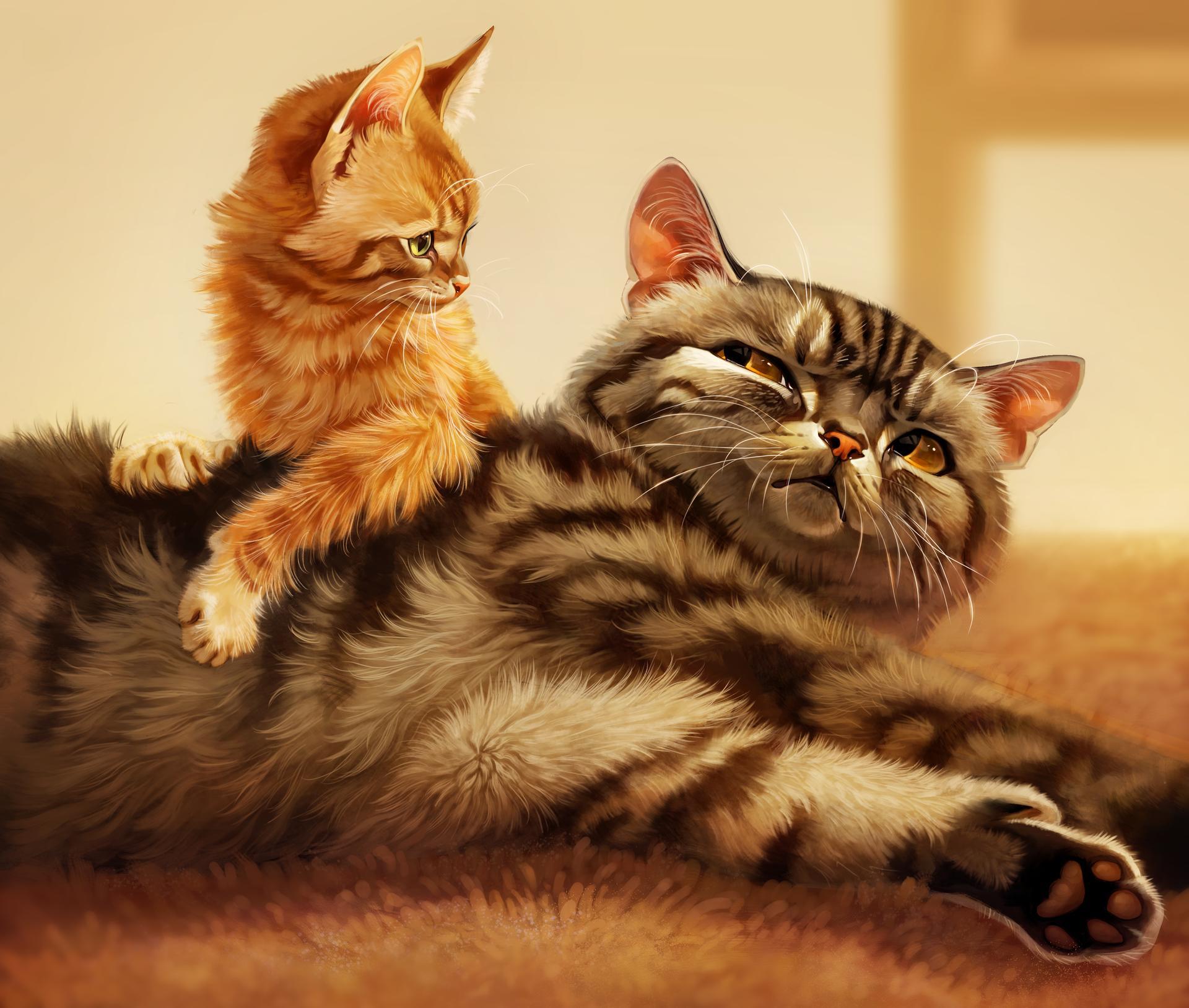 Фото Полосатая серая кошка и рыжий котенок, by Pixxus
